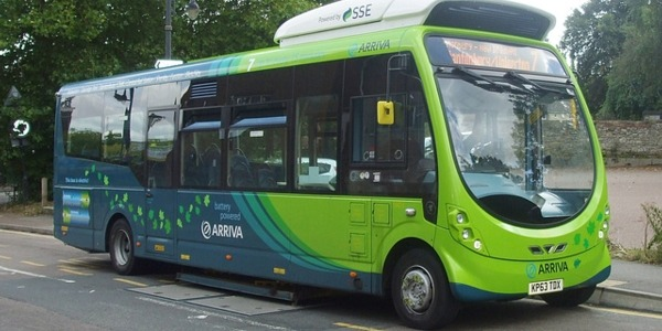 An electric bus in Milton Keynes located over an inductive charging pad