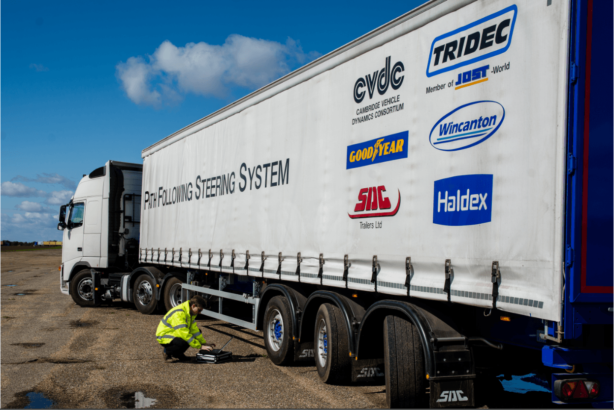 Path-following longer semitrailer, developed by the Cambridge researchers and industry partners